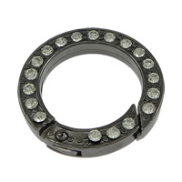 Zinc Alloy Jewelry Clasp, Donut, plumbum black color plated, with rhinestone, nickel, lead & cadmium free, 24x4mm, Inner Diameter:Approx 17mm, 30PCs/Lot, Sold By Lot