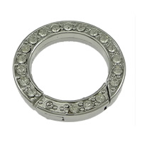 Zinc Alloy Jewelry Clasp, Donut, platinum color plated, with rhinestone, nickel, lead & cadmium free, 24x4mm, Inner Diameter:Approx 17mm, 50PCs/Lot, Sold By Lot