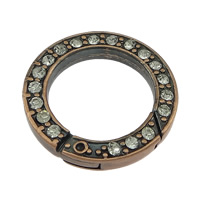 Zinc Alloy Jewelry Clasp, Donut, antique copper color plated, with rhinestone, nickel, lead & cadmium free, 24x4mm, Inner Diameter:Approx 17mm, 50PCs/Lot, Sold By Lot