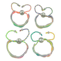 Zinc Alloy Bracelet, with Nylon Cord & Copper Coated Plastic, platinum color plated, mixed colors, nickel, lead & cadmium free, 13.5x3mm, Length:Approx 7.5 Inch, 10Strands/Bag, Sold By Bag