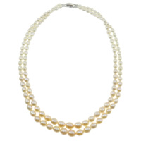 Natural Freshwater Pearl Necklace brass clasp Round Grade AAA 3-7mm Sold Per 17 Inch Strand