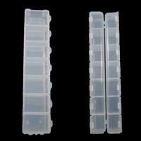 Sieraden Kralen Container, Plastic, Rechthoek, doorschijnend, wit, 155x34.50x18mm, Verkocht door pair