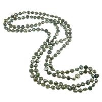 Naszyjnik z naturalnych pereł słodkowodnych, Perła naturalna słodkowodna, Bryłki, Naturalne, zielony, 9-11mm, sprzedawane na 62 cal Strand