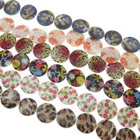 Naturalne koraliki z muszli z nadrukiem, Muszla, Moneta, mieszane kolory, 24x3mm, otwór:około 1.5mm, długość:15.5 cal, 10nici/torba, sprzedane przez torba