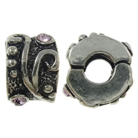 Zinc Alloy European Clip, antique silver color plated, with rhinestone, nickel, lead & cadmium free, 10x6.5mm, Hole:Approx 3.5mm, 10PCs/Bag, Sold By Bag
