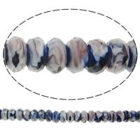 European kristalli helmiä, Millefiori Crystal, Rondelli, ilman peikko, 14x7mm, Reikä:N. 5mm, 50PC/Strand, Myyty Per 14 tuuma Strand