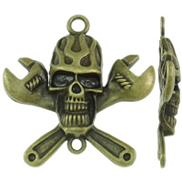 Zinc Alloy Connector Setting, Skull, antique bronze color plated, 1/1 loop, nickel, lead & cadmium free, 60.50x62x8mm, Hole:Approx 4-5.5mm, Approx 50PCs/KG, Sold By KG