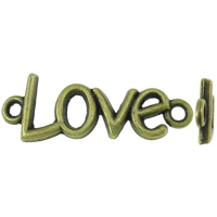 Letter Zinc Alloy Connector, word love, antique bronze color plated, 1/1 loop, nickel, lead & cadmium free, 13x35.50x3mm, Hole:Approx 2.5mm, Approx 400PCs/KG, Sold By KG