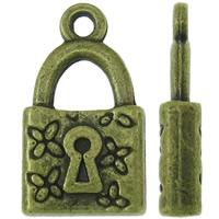Sinkkiseos Lock riipukset, Lukko, antiikki pronssi väri päällystetty, nikkeli, lyijy ja kadmium vapaa, 10.50x8x3.50mm, Reikä:N. 1.5mm, N. 475PC/KG, Myymät KG