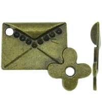 Zinc Alloy Connector Setting, Envelope, antique bronze color plated, 1/1 loop, nickel, lead & cadmium free, 26x20.50x3.50mm, Hole:Approx 2.5mm, Approx 400PCs/KG, Sold By KG