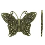 Złącze ze stopu cynku zwierząt, Stop cynku, Motyl, Platerowane kolorem starego brązu, kółko 2/2, bez zawartości niklu, ołowiu i kadmu, 48x34.50x2mm, otwór:około 1.5mm, około 130komputery/KG, sprzedane przez KG