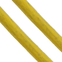 Cowhide Cord, yellow, nickel, lead & cadmium free, 2mm, Length:Approx 100 m, Sold By PC