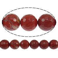 Red Jasper Beads, Round, faceted, 14mm, Hole:Approx 1.2-1.4mm, Length:Approx 15 Inch, 10Strands/Lot, Approx 28PCs/Strand, Sold By Lot