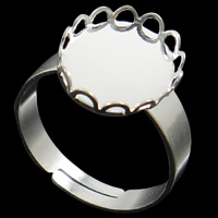 Brass Bezel Ring Base, silver color plated, nickel, lead & cadmium free, 12x15x2mm, Size:6.5, 100PCs/Bag, Sold By Bag