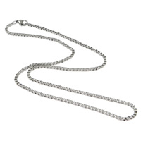 Stainless Steel Chain Necklace, stainless steel lobster clasp, box chain, original color, 2mm, Length:Approx 17 Inch, 30Strands/Lot, Sold By Lot