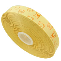 Grosgrain Ribbon, printing, cartoon pattern & single-sided, yellow, 22mm, 55m/Lot, Sold By Lot