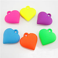 Acrylic Pendants, Heart, mixed colors, nickel, lead & cadmium free, 25x23x8mm, Hole:Approx 1mm, 300PCs/Bag, Sold By Bag