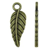 Sinkkiseos Feather riipukset, Sulka, antiikki pronssi väri päällystetty, nikkeli, lyijy ja kadmium vapaa, 6.50x18.50x1.50mm, Reikä:N. 2mm, N. 2000PC/KG, Myymät KG