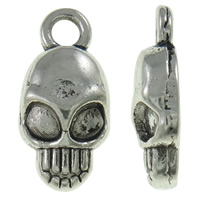 Zinc Alloy Skull Pendants, antique silver color plated, nickel, lead & cadmium free, 7x15x3.50mm, Hole:Approx 2mm, Approx 1660PCs/KG, Sold By KG