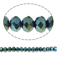 Rondelle Crystal Beads, AB color plated, imitation CRYSTALLIZED™ element crystal, Indicolite, 4x6mm, Hole:Approx 1mm, Length:Approx 19 , 10Strands/Bag, Approx 120PCs/Strand, Sold By Bag