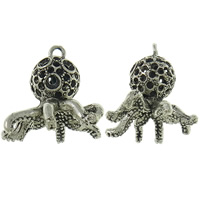 Zinc Alloy Pendant Rhinestone Setting Octopus antique silver color plated lead   cadmium free 27x30x27mm Hole:Approx 2mm