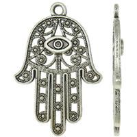 Zinklegering Hamsa Hangers, Zinc Alloy, Evil Hamsa Eye, antiek zilver plated, Joodse Jewelry & Islam sieraden, nikkel, lood en cadmium vrij, 27.50x42x3mm, Gat:Ca 2.5mm, Ca 20pC's/Bag, Verkocht door Bag