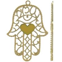 Zinklegering Hamsa Hangers, Zinc Alloy, Evil Hamsa Eye, gold plated, Joodse Jewelry & Islam sieraden & met hart patroon & glazuur, lood en cadmium vrij, 53x77x3mm, Gat:Ca 3mm, 10pC's/Bag, Verkocht door Bag