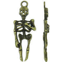 Zinc Alloy Skull Pendants, Skeleton, antique bronze color plated, nickel, lead & cadmium free, 15x42x4mm, Hole:Approx 3mm, 200PCs/Bag, Sold By Bag