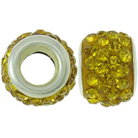 Rhinestone European Beads Rhinestone Clay Pave Drum platinum color plated brass double core without troll   with rhinestone yellow 8x12mm Hole:Approx 4.5mm 30PCs/Bag