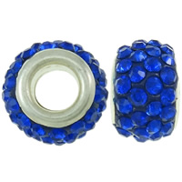 Rhinestone European Beads, Rhinestone Clay Pave, Drum, platinum color plated, brass double core without troll & with rhinestone, blue, 8x12mm, Hole:Approx 4.5mm, 30PCs/Bag, Sold By Bag