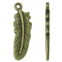 Sinkkiseos Feather riipukset, Sulka, antiikki pronssi väri päällystetty, nikkeli, lyijy ja kadmium vapaa, 7.50x23x2mm, Reikä:N. 1.5mm, N. 1000PC/KG, Myymät KG