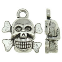 Zinc Alloy Skull Pendants, Skull Cross, antique silver color plated, nickel, lead & cadmium free, 13x14x5mm, Hole:Approx 1.5mm, Approx 830PCs/KG, Sold By KG