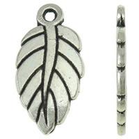 Sinkkiseos Feather riipukset, Sulka, antiikki hopea päällystetty, nikkeli, lyijy ja kadmium vapaa, 10x19x1.50mm, Reikä:N. 1.5mm, N. 1000PC/KG, Myymät KG