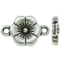 Flower Zinc Alloy Connector, antique silver color plated, 1/1 loop, nickel, lead & cadmium free, 10x17x2mm, Hole:Approx 1.5mm, Approx 1220PCs/KG, Sold By KG