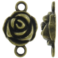 Flower Zinc Alloy Connector antique bronze color plated 1/1 loop nickel lead   cadmium free 16x25x6mm Hole:Approx 3mm Approx 340PCs/Bag