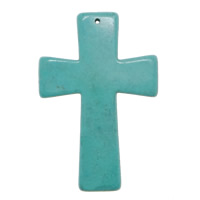 Turquoise Pendant, Cross, turquoise blue, 41x59x5.50mm, Hole:Approx 1mm, 100PCs/Lot, Sold By Lot