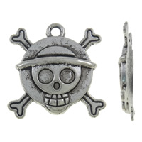Zinc Alloy Skull Pendants, Skull Cross, antique silver color plated, nickel, lead & cadmium free, 26.50x28x3.50mm, Hole:Approx 2.5mm, Approx 180PCs/KG, Sold By KG