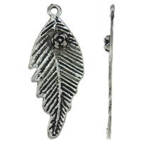Sinkkiseos Feather riipukset, Sulka, antiikki hopea päällystetty, nikkeli, lyijy ja kadmium vapaa, 17x43x3mm, Reikä:N. 2mm, N. 370PC/KG, Myymät KG
