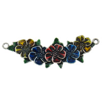 Flower Zinc Alloy Connector antique silver color plated enamel   1/1 loop lead   cadmium free 112x37x4mm Hole:Approx 5mm