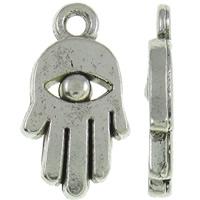 Zinklegering Hamsa Hangers, Zinc Alloy, Evil Hamsa Eye, antiek zilver plated, Joodse Jewelry & Islam sieraden, nikkel, lood en cadmium vrij, 9x16x2mm, Gat:Ca 1.5mm, Ca 1000pC's/KG, Verkocht door KG