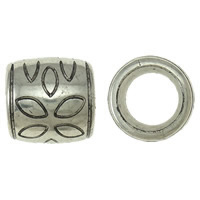 Copper Coated Plastic European Bead, Drum, antique silver color plated, without troll, lead & cadmium free, 23.50x23x23mm, Hole:Approx 15.5mm, 50PCs/Bag, Sold By Bag