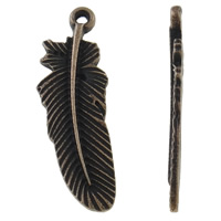 Sinkkiseos Feather riipukset, Sulka, antiikki kupari väri päällystetty, nikkeli, lyijy ja kadmium vapaa, 11x31x1.50mm, Reikä:N. 1mm, N. 585PC/KG, Myymät KG