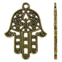 Zinklegering Hamsa Hangers, Zinc Alloy, antiek goud plated, Joodse Jewelry & Islam sieraden, lood en cadmium vrij, 22x30x1.50mm, Gat:Ca 2mm, Ca 20pC's/Bag, Verkocht door Bag