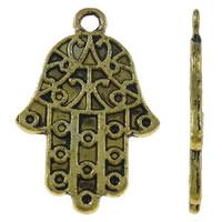 Zinklegering Hamsa Hangers, Zinc Alloy, antiek goud plated, Joodse Jewelry & Islam sieraden, nikkel, lood en cadmium vrij, 16x25x1.50mm, Gat:Ca 2mm, Ca 500pC's/KG, Verkocht door KG