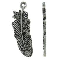 Sinkkiseos Feather riipukset, Sulka, antiikki hopea päällystetty, nikkeli, lyijy ja kadmium vapaa, 11x31x2mm, Reikä:N. 1mm, N. 550PC/KG, Myymät KG