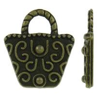Zinklegering Handtas Hangers, Zinc Alloy, antiek brons plated, nikkel, lood en cadmium vrij, 15x17x2.50mm, Gat:Ca 5x3.5mm, Ca 830pC's/KG, Verkocht door KG