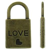 Sinkkiseos Lock riipukset, Lukko, antiikki pronssi väri päällystetty, sydän kuvio, nikkeli, lyijy ja kadmium vapaa, 10.50x20x2mm, Reikä:N. 6x6mm, N. 550/