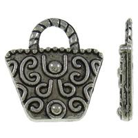 Zinklegering Handtas Hangers, Zinc Alloy, antiek zilver plated, nikkel, lood en cadmium vrij, 15.50x17x3mm, Gat:Ca 4.5x3.5mm, Ca 963pC's/KG, Verkocht door KG