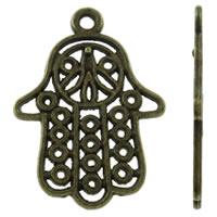 Zinklegering Hamsa Hangers, Zinc Alloy, antiek brons plated, Joodse Jewelry & Islam sieraden, nikkel, lood en cadmium vrij, 21x29x1.50mm, Gat:Ca 1.5mm, Ca 585pC's/KG, Verkocht door KG