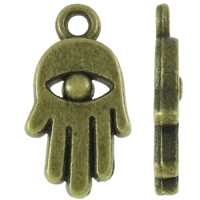 Zinklegering Hamsa Hangers, Zinc Alloy, Evil Hamsa Eye, antiek brons plated, Joodse Jewelry & Islam sieraden, nikkel, lood en cadmium vrij, 8.50x16x2mm, Gat:Ca 1mm, Ca 1000pC's/KG, Verkocht door KG